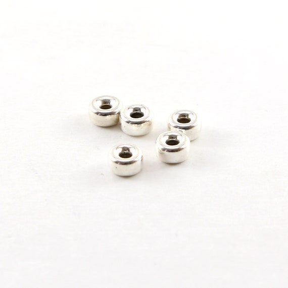 5 Pieces 6mm Smooth Pony Rondelle Seamless Sterling Silver 925 Spacer Beads