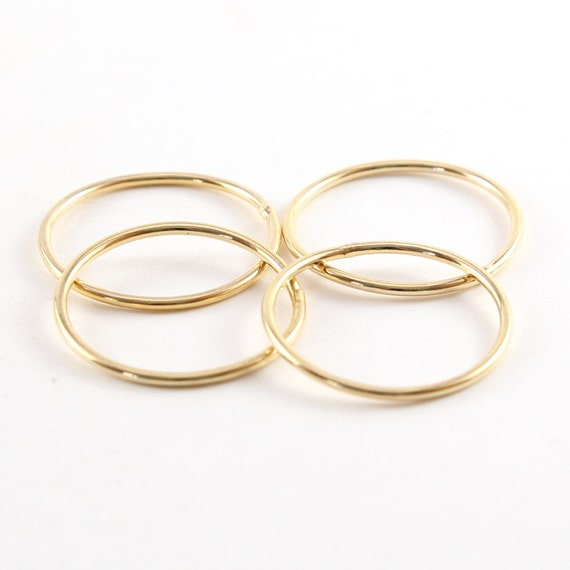 4 Pieces Large 27mm Shiny Gold Smooth Open Circle Connector Ring Charm Rhodium Plated Brass