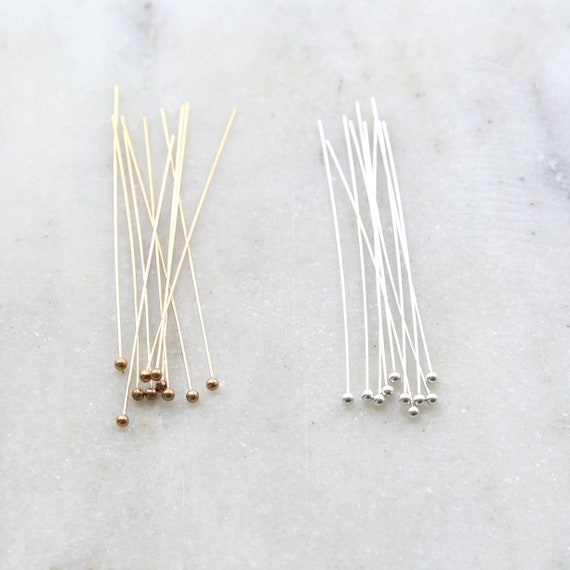 10 Pieces 2 Inch Ball Head Pin 24 Gauge 14K Gold Filled or Sterling Silver Stringing Bead Supplies