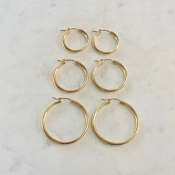 1 Pair Gold Filled Thick Flex Tube Hoop Earrings 34mm, 27mm, 22mm Earring Wires Earring Hook Component