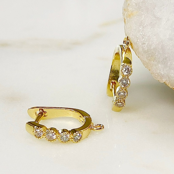 1 Pair Shimmering Round Shaped CZ Square Hoop Earrings, Gold Plated Earring, Hoop Component- Sold as a Pair