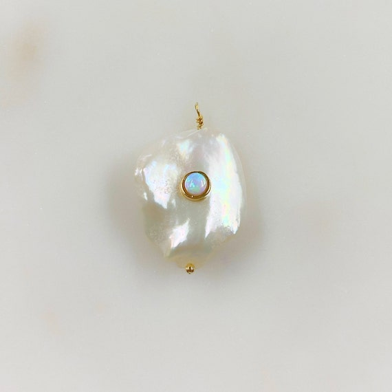 Freshwater Opal Center Pearl Charm Gold Plated Natural Shape Pearl Charm