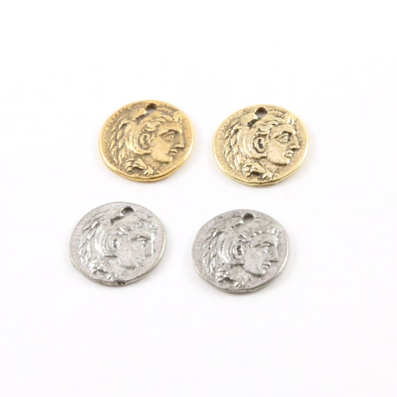2 Pieces Tiny Small Ancient Greek Coin Symbol Double Sided Medallion Charm Pendant Pewter Antique Gold or Antique Silver