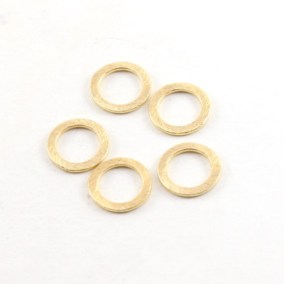 5 Pieces Small 12mm Brushed Gold Textured Open Circle Connector Ring Rhodium Plated Brass