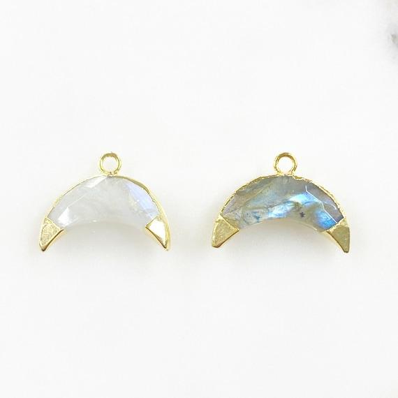 Half Moon Crystal Charm Choose Your Stone Rainbow Moonstone Or Labradorite Moon Celestial Crystal Charm Jewelry Making Charms