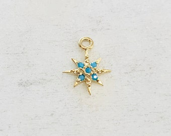 Gold Plated Turquoise  Stone Tiny 8 Point Star Charm Celestial Unique Charm Pendant