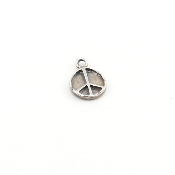 Small Organic Shaped Sterling Silver Peace Sign Charm Hippie Love 60's Charm