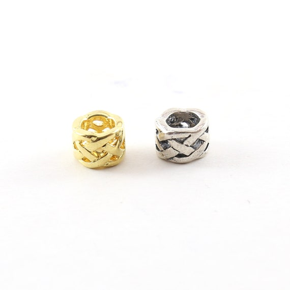 Intricate Weave Knot Bead in Shiny Gold Vermeil or Sterling Silver Large Hole Spacer Beads Leather Slide Bead