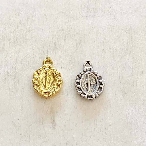 Teeny Tiny Sterling Silver or Vermeil Mother Mary Circle Round Medallion Charm with Miraculous Miracle on Back