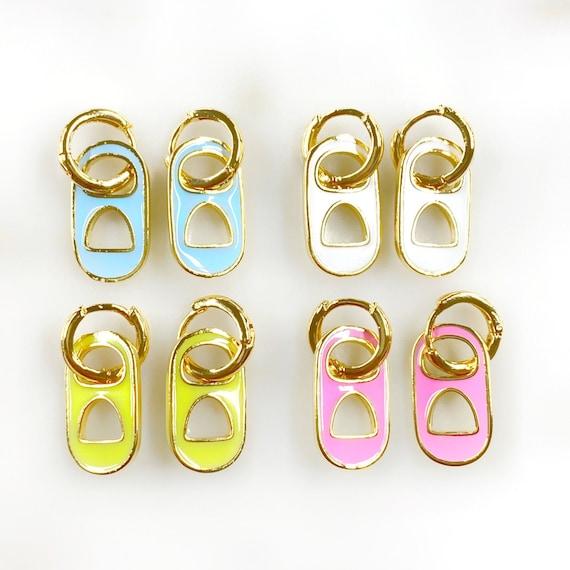 Soda Pop Mini Hoops Choose Your Color 18k Gold Filled Hoops With Enamel Soda Can Tab Neon Funky Trendy Mini Hoops