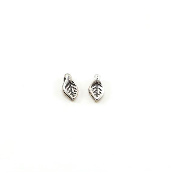 2 Pieces Detailed Teeny Tiny Dainty Leaf Charms Sideways Loop Small Nature Inspired Charms