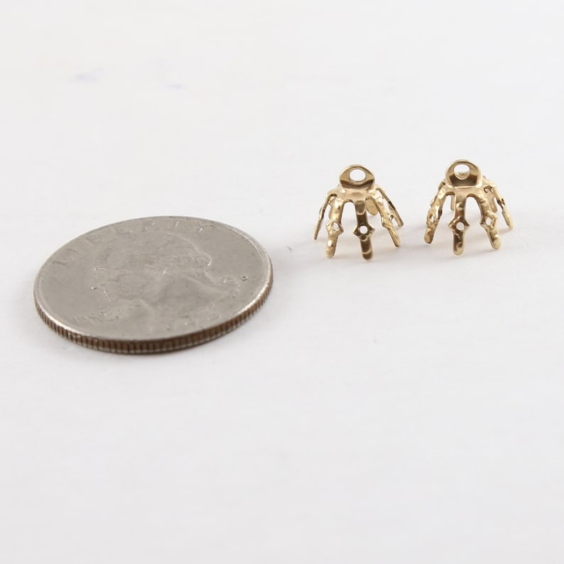 2 Pieces 10mm x 8mm 14K Gold Filled  Flower Pinch Prong Bead Cap Jewelry Making Supplies