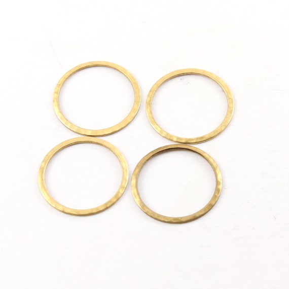4 Pieces Raw Brass Medium Open Circle 22mm Connector Link Round Charm Textured Circle Stamping Blank