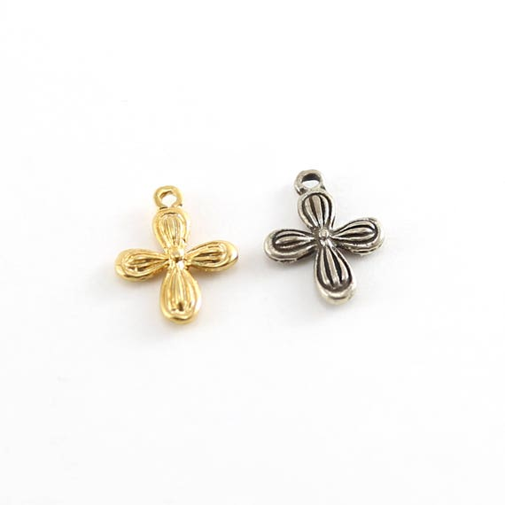 Detailed Rounded Cross Charm in Sterling Silver and Vermeil Gold Religious Spiritual Pendant