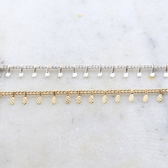 Gold or Silver Plated Base Metal Dangle Drop Choker Chain Dainty Minimal Modern Chain / Chain by the Foot