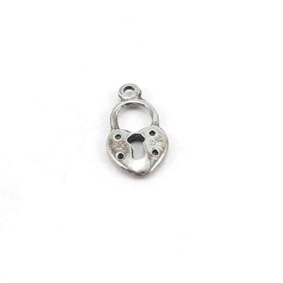 Flat Small Heart with Open Lock Charm in Sterling Silver Love Valentines Day Best Friend Pendant