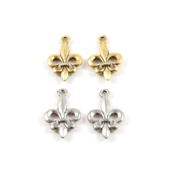2 Pieces Simple Fleur De Lis Charm Pendant Pewter Necklace Charm 14mm x 22mm in Antique Gold or Antique Silver
