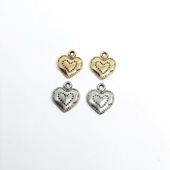 2 Pieces Small Pewter Stitched Heart Design with Loop,  Love ,Friendship, Small Pendant, Tiny Heart Charm, Antique Gold, Antique Silver