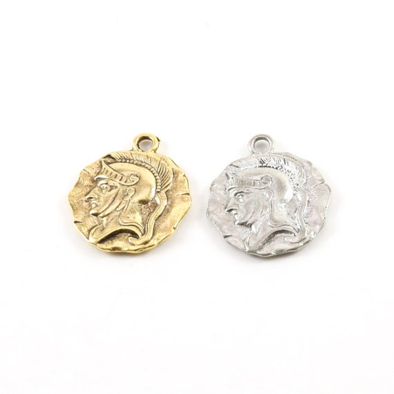 Detailed Raised Roman Gladiator Coin Round Circle Pendant 25mm x 21mm in Antique Gold, Antique Silver