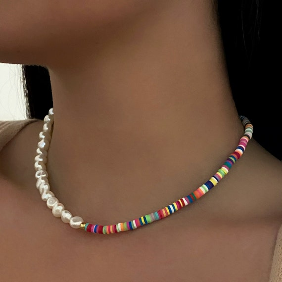 Half & Half Neon Pearl Charm Necklace Freshwater Pearl Handmade Beaded Necklace Ready To Wear