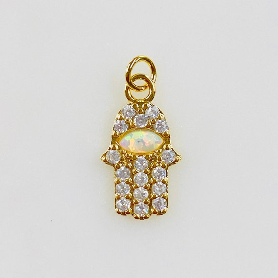 1 Piece Hamsa Charm CZ Pave With Lab Created Opal Cubic Zirconia Gold Plated Charm
