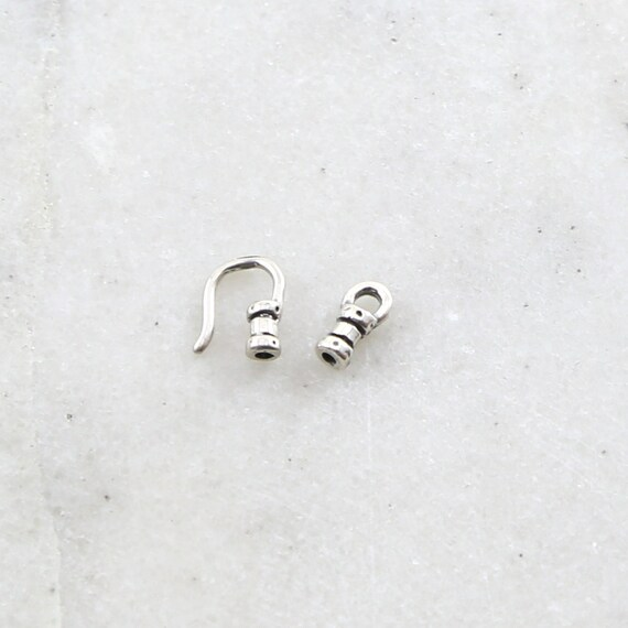 1mm Tiny Small Leather Cord Crimp End Hook and Eye End Cap Set in Sterling Silver