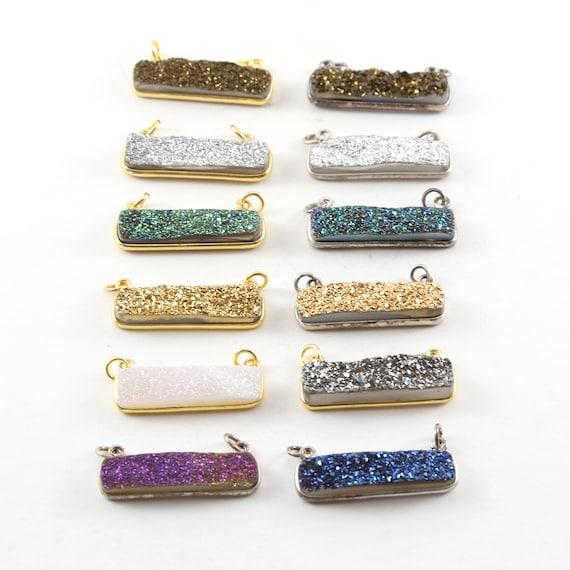 1 Piece Sparkling Druzy Necklace  Bar Connector Druzy Charm 2 Loop Link  Charm / Vermeil / Sterling Silver / Choose your Druzy Color