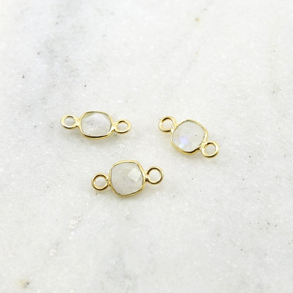 Square Faceted Rainbow Moonstone Double Loop Gold Vermeil Connector Bezel Charm 14mm x 7mm
