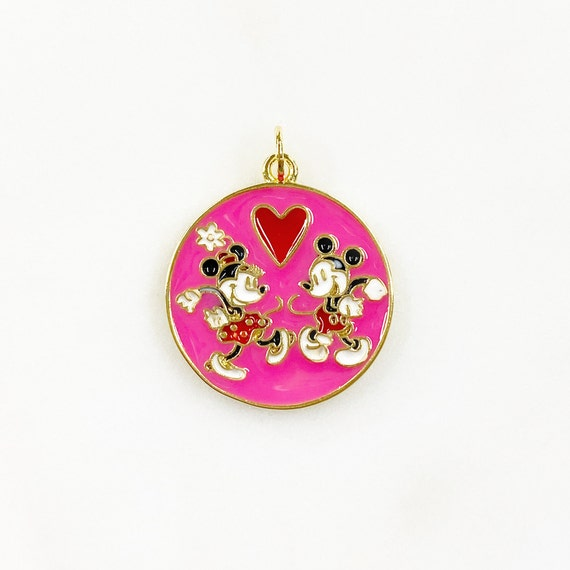 Mickey and Minnie Mouse Pink Coin Charm Gold Plated Love Mickey and Minnie Dancing Charm Classic Disney Cartoon Jewelry Making Charms