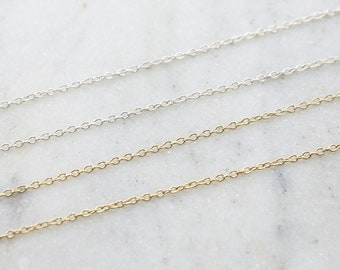 Dainty Minimal Cable Chain Link Sterling Silver or 14K Gold Filled  / Sold by the Foot / Bulk Unfinished Chain