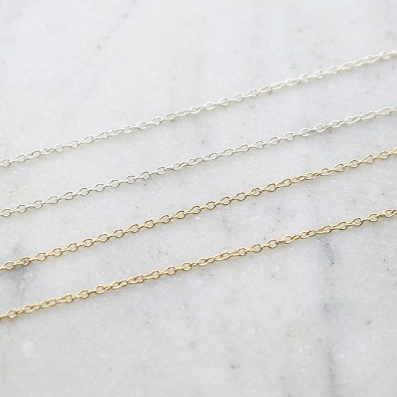 Medium Thick Dainty Sterling Silver or 14K Gold Filled Cable Link Chain / Sold by the Foot / Bulk Unfinished Chain