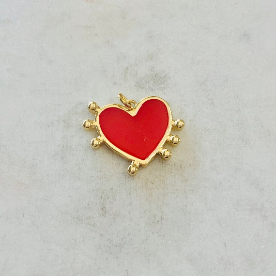 Cute Red Enamel Heart Dotted Beaded Edge Charm Valentine's Day Heart Charm Love Friendship Charm Pendant Gold Plated