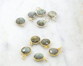 10mm Round Labradorite Faceted Bezel Gemstone Charm Sterling Silver or Vermeil Gold Modern Jewelry Making Supply