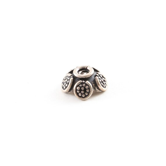 Rounded Sterling Silver Dotted Petals Flower Bali Style Bead Cap Jewelry Making Supplies