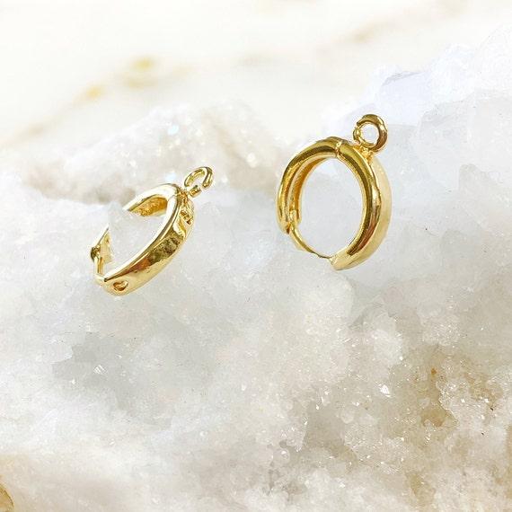 1 Pair Mini Gold Hoop Earrings Simple Gold Plated Earrings With Hoop Component - Sold as Pair