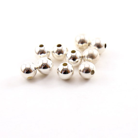10 Pieces 8mm Smooth Seamless Round Sterling Silver 925 Spacer Beads