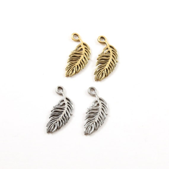2 Pieces Pewter Small Minimal Modern Feather Charm Jewelry Making Supplies Necklace Pendant Antique Gold, Antique Silver