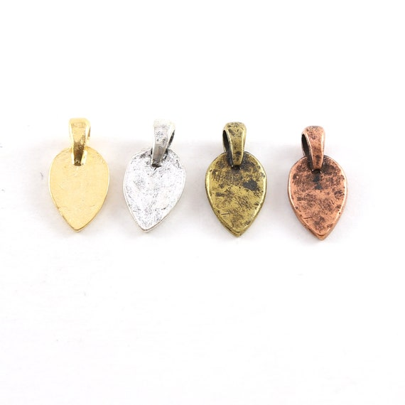 Small Pewter Metal Hammered Stamping Blank Upside Down Teardrop Dagger Point with Bail Pendant Silver, Gold, Antique Brass, Antique Copper