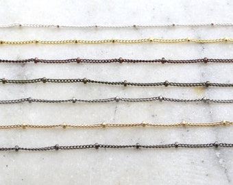 Base Metal Plated 2mm Satellite Ball Dotted Chain in 7 Finishes / Chain by the Foot