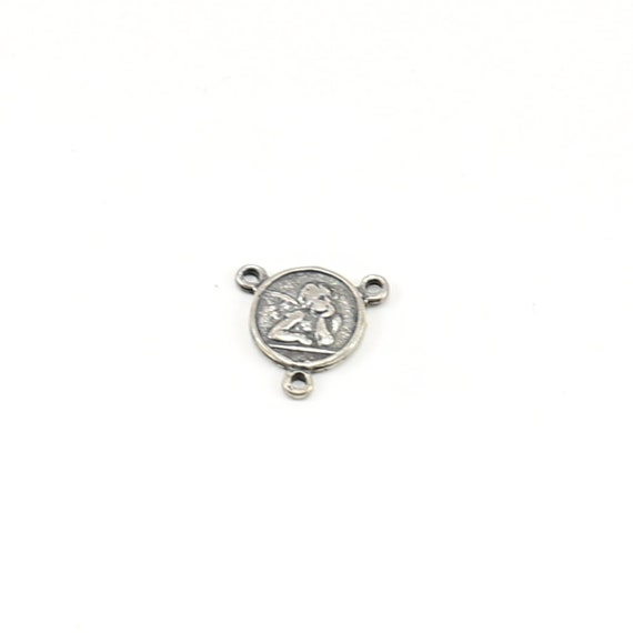 Small Angel Coin Little Disk 3 way Y Connector Charm Sterling Silver Cherub with Wings Religious Charm