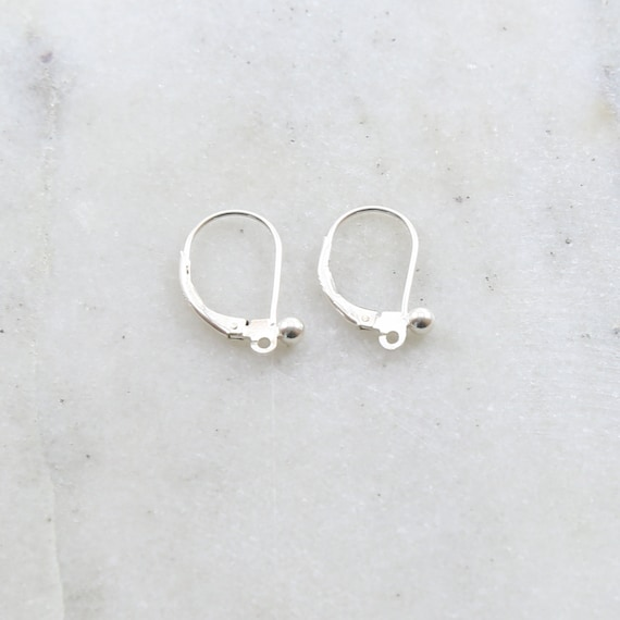 1 Pair Sterling Silver Ball Leverback Earring Hooks Earring Component