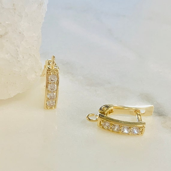 1 Pair Shimmering CZ Square Hoop Earrings Gold Plated Earring Hoop Component- Sold as a Pair