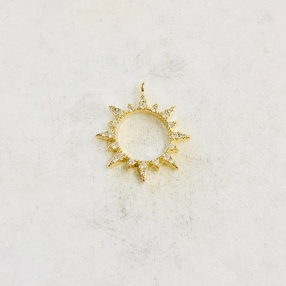 Cubic Zirconia Starburst Sun Charm Round Circle Drop Charm Pendant Celestial Jewelry Star Coin, Star Disc, Gold Coin 20mm Gold Plated Charm