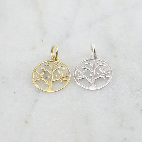 Tree of Life Family Tree Lightweight Silhouette Charm Modern Nature Pendant Sterling Silver or Vermeil