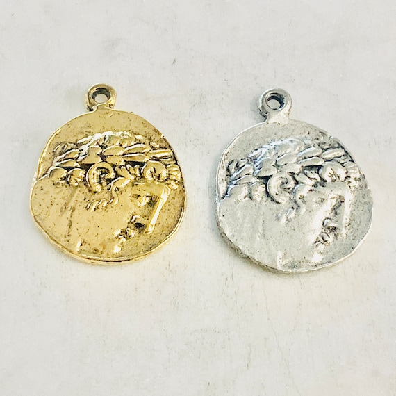 Ancient Greek Coin Double Sided Eagle Medallion Charm Pendant Pewter in Antique Gold, Antique Silver