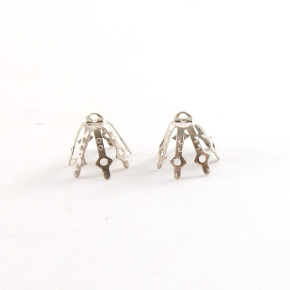 2 Pieces 12mm x 10mm Sterling Silver Flower Pinch Prong Bead Cap Jewelry Making Supplies