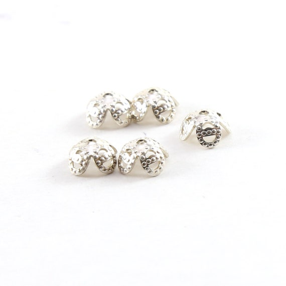 5 Pieces 7mm x 4mm Sterling Silver Flower Bead Cap Jewelry Making Supplies