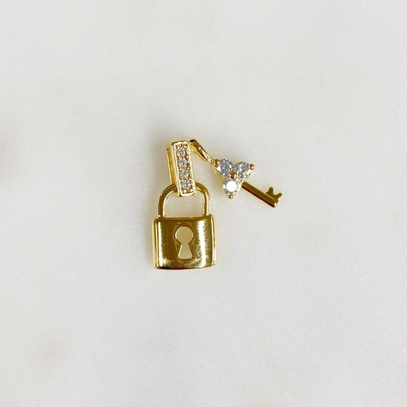 Cute Lock And Key CZ Pave Charm Gold Plated Lock CZ Key And Hook, 1 Piece