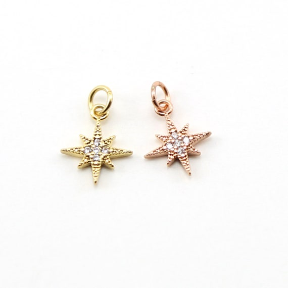 Small Pointed Pave Star Starburst CZ Rhodium Plated Celestial Charm in Gold or Rose Gold