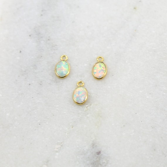 1 Piece Tiny Opal Oval Gold Vermeil Drop Bezel Charm 9mm x 5mm Gemstone Gold Rimmed Pendant